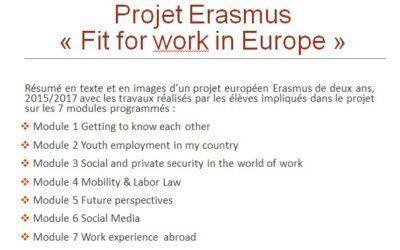 Retour sur les deux années de notre projet Erasmus -Fit for work in Europe-